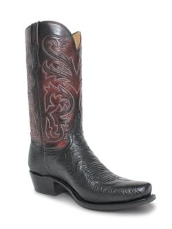 Mens Lucchese Nathan Black Smooth Ostrich Snip Toe Cowboy Boots