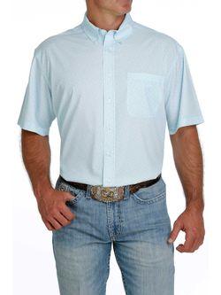 Mens Cinch Light Blue Short Sleeve  Print