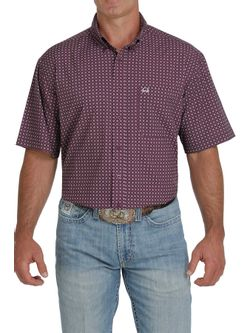 Mens Cinch Purple Print Arena Flex Short Sleeve Shirt