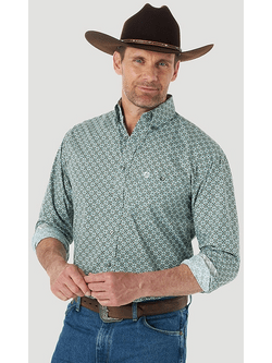 Mens Wrangler George Strait Button Down One Pocket Neutral Print Shirt