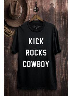 Ladies Black Kick Rocks Cowboy Tee Short Sleeve
