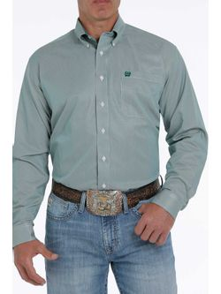 Mens Cinch Green Stripe Long Sleeve Shirt
