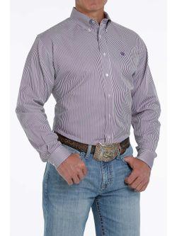 Mens Cinch  Purple Multi Stripe Long Sleeve Shirt