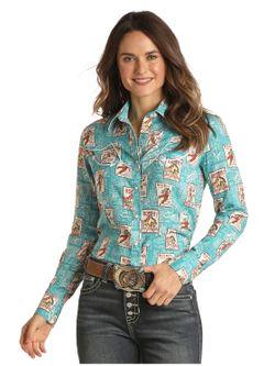 Ladies Panhandle Slim Pearl Snap Vintage Long Sleeve Shirt