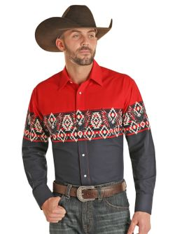 Mens Panhandle Slim Red White and  Blue Aztec Long  Sleeve Shirt
