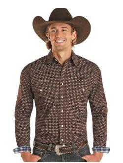 Mens Panhandle Slim  Brown Print Long Sleeve Shirt