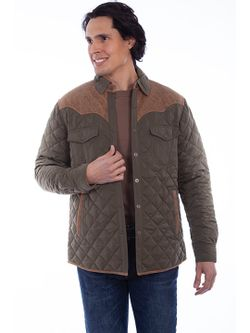 Mens Scully Olive Quilted Jacket