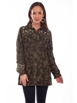 Ladies Scully Camouflage Suede & Embroidered Beaded Jacket