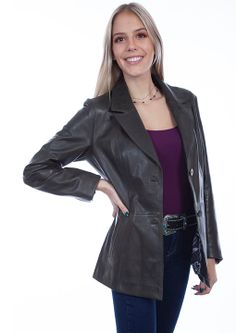 Ladies Scully Olive Leather Blazer
