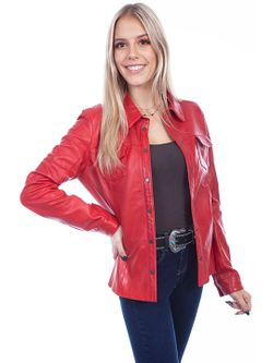 Ladies Scully Red Snap Front Leather Jacket