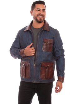 Mens Scully Denim and Leather Trim Jacket Jacket