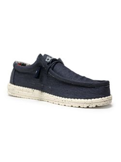 Mens Hey Dude Wally Stretch Blue Carbon Casual Shoe