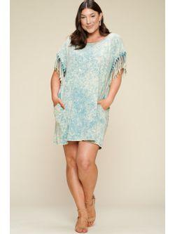 Ladies Round Neck Acid Washed Jade Dress with Fringe Hemmed Sleeves