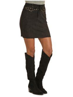 Ladies Panhandle Slim Black Faux Suede Skirt