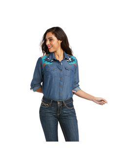 Ladies Ariat Real Vivacious Indigo Snap Long Sleeve Shirt