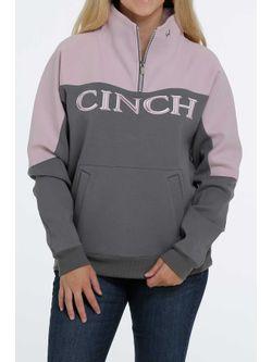 Ladies Cinch  1/4 Zip  Gray Pullover