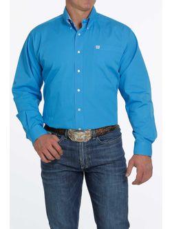 Mens Cinch Solid Blue Long Sleeve Shirt