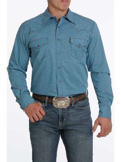Mens Cinch Blue Print Modern Fit Long Sleeve Shirt