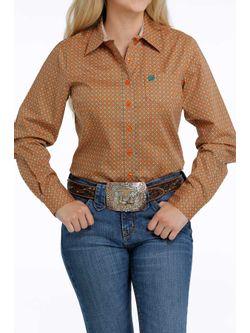 Ladies Cinch Orange Print Long Sleeve Shirt