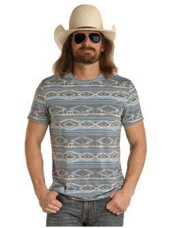 Mens Panhandle Slim Rock N Roll Aztec Tee Shirt