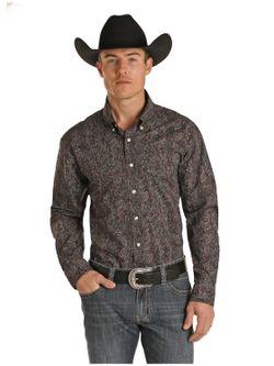 Mens Panhandle Slim Gray Paisley Print Long Sleeve Shirt