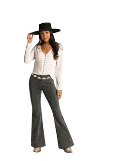 Laides Panhandle Slim Charcoal Flare Jeans