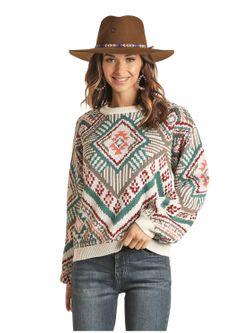Panhandle Slim Ladies Multi Print Sweater