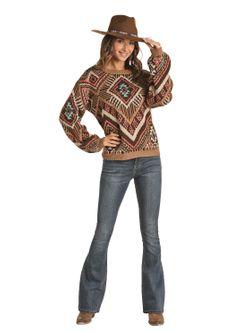 Panhandle Slim Ladies Juniors Brown Sweater