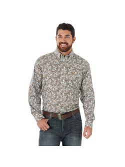 Mens Wrangler George Strait Chocolate Paisley Long Sleeve Shirt