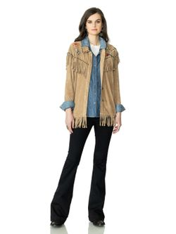 Double D Ranch Ladies Tan Studded Signs Jacket