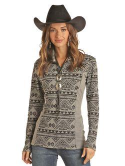 Panhandle Slim Ladies Gray Aztec 1/4 Zip Pullover