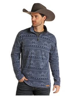 Panhandle Slim Mens Blue Aztec Pullover