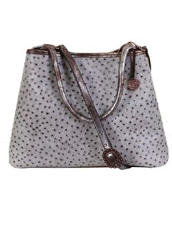 Double J Ranch Ladies Grey Ostrich Tote