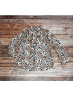Ladies Tasha Polizzi Tan Cabin Sheer Blouse Long Sleeve