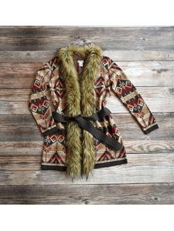 Ladies Tasha Caramel Berlin Blanket Cardigan with Fur