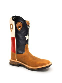 Twisted X Mens Light Brown Texas Flag Soft Toe Work Boot