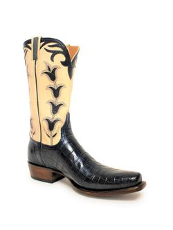 Lucchese Bootmaker Classic Mens Antique Navy Nile Crocodile Belly