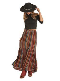 Panhandle Slim Ladies Multi Strip Hi Lo Maxi Skirt