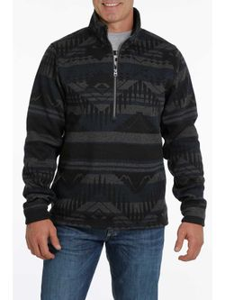 Cinch Mens 1/2 Zip Blue Sweater
