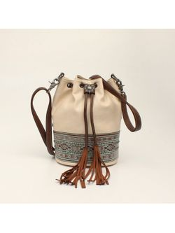 M&f Western Ladies Tan And Turquoise Bucket Bag